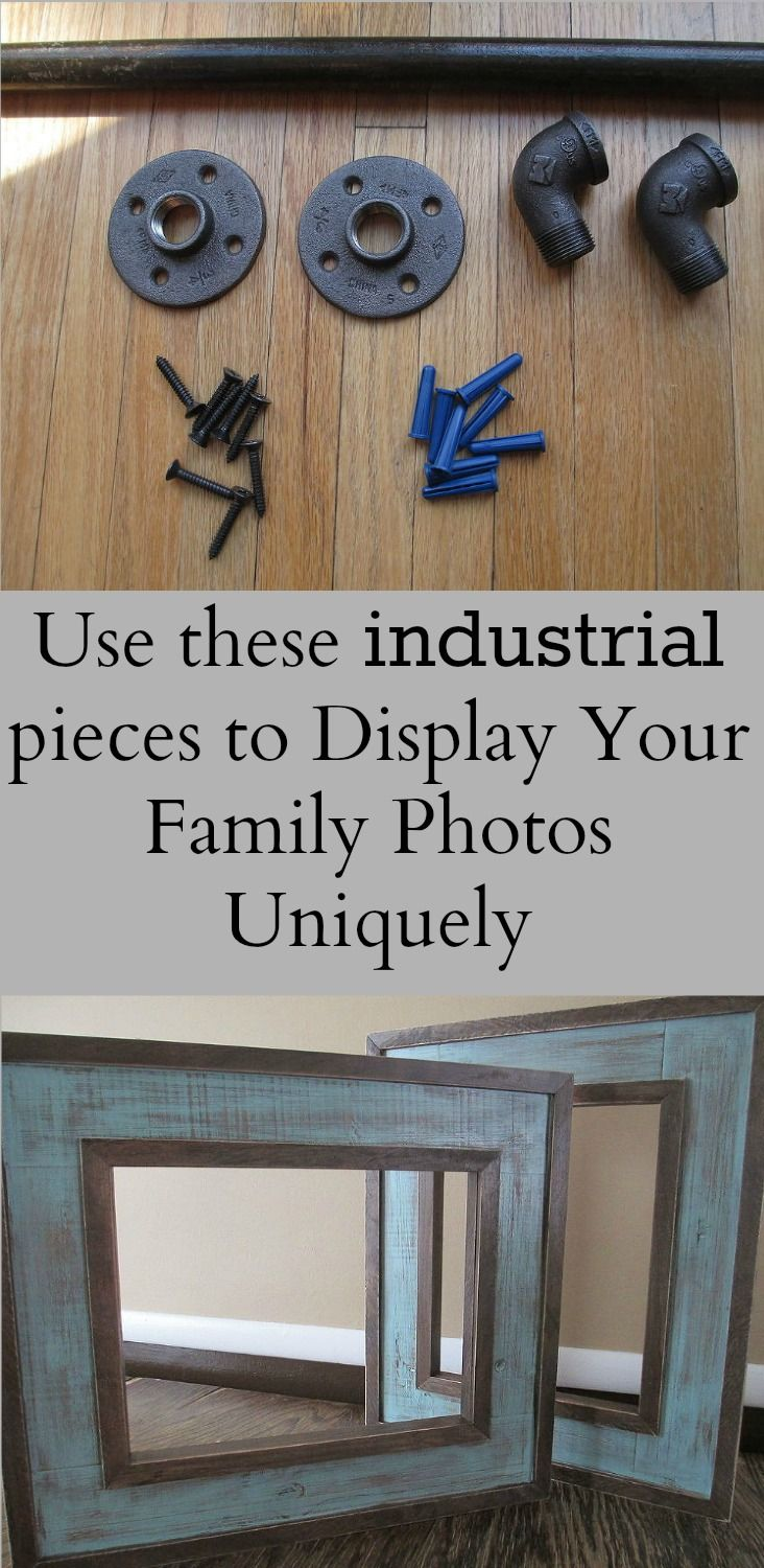 Create an industrial-looking display for your family photos