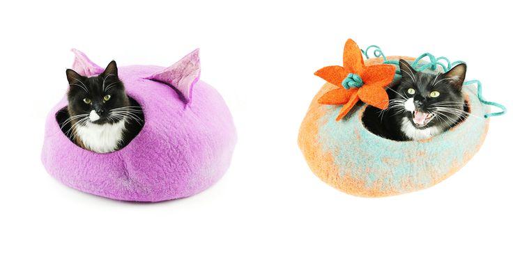 Cat Bed, Cat Cave, Pet Bed, Cat Igloo, Cat House Handmade Wool Felt Cat Home -