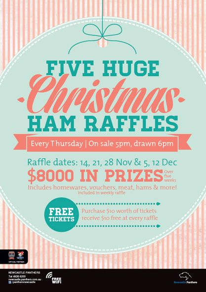 Newcastle panthers christmas raffles poster poster for Christmas raffle poster templates