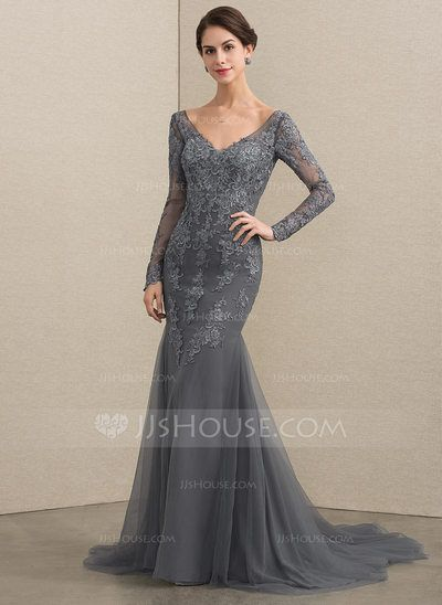 4d6449d297  US  182.00  Trumpet Mermaid V-neck Court Train Tulle Lace Mother of the Bride  Dress (008164058)
