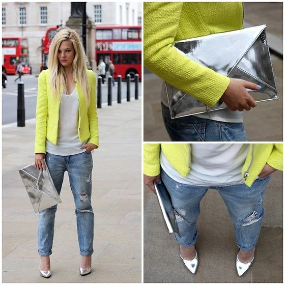 Fluorescent Yellow Blazer. White. Silver. Distressed Jeans. Bringing a little COLOR to Fall.