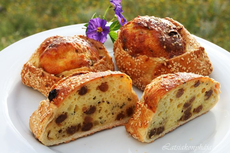Flaounes - Cypriot Easter pastries made from filo and stuffed with a cheese and dried fruit mixture.