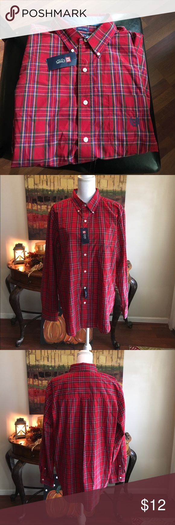 Chaps dress shirt Chaps dress shirt.  Still new with tags. Great shirt for the holiday.  Would look good with flannel vest. Size large. Thanks for looking Chaps Shirts Casual Button Down Shirts