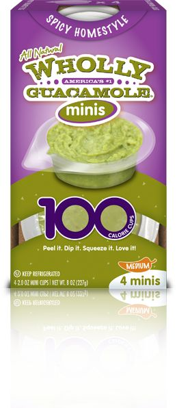 Wholly Guacamole Homestyle Minis- made with real Hass Avocados, natural ingredients and can freeze up to 3 months!