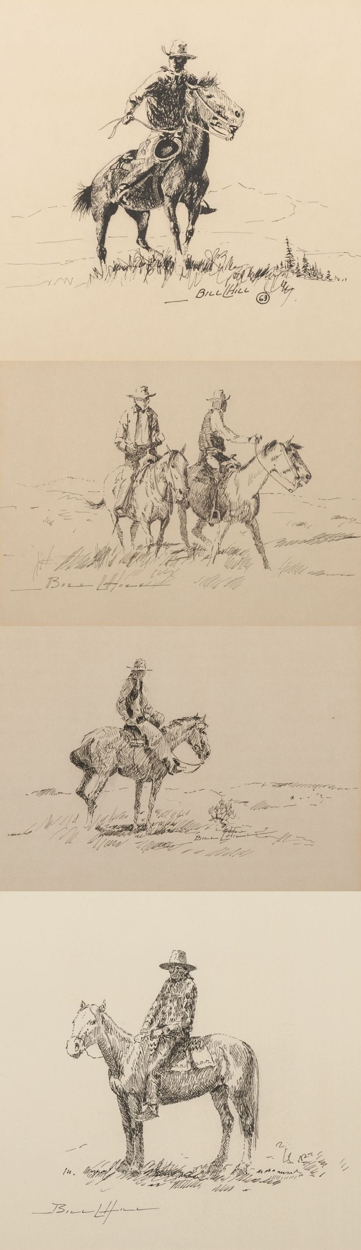 """William Hill (1922 - 2009) pen and ink drawings of western scenes by William Hill. Sizes range from 6"""" x 8"""" to 7 1/2"""" x 10"""". Each signed BILL L HILL, and all framed."""