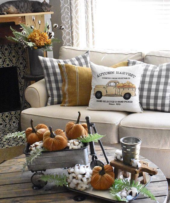 checkered fall pillow. Rustic Fall home decor f …