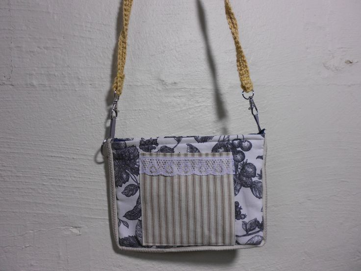 Fabric Cross Body Cell Phone Purse Charcoal White Print with Gold Denim Stripe Lace Pocket 7 x 9 Inch Zipper/Velcro Closure by KitschMomma on Etsy