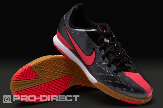 Nike Junior Football Boots - Nike Jnr T90 Shoot IV IC - Indoor - Kids Soccer Cleats - Dark Grey-Solar Red-Black