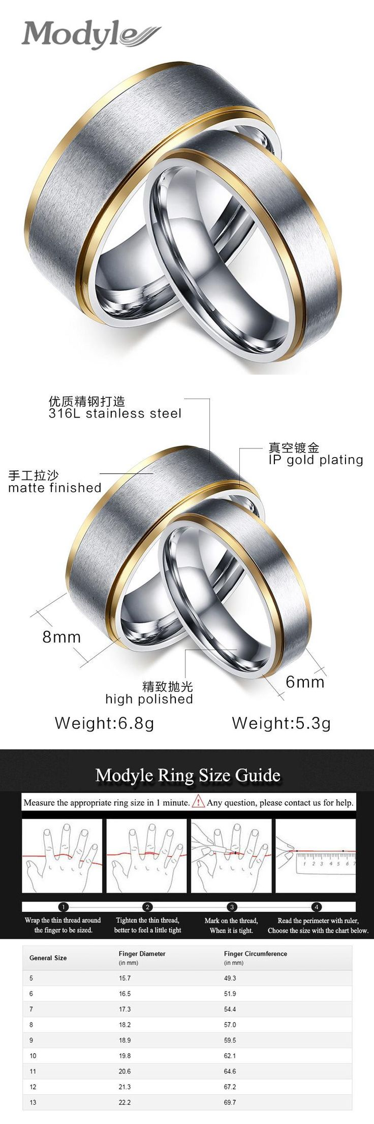 [visit To Buy] Modyle Goldcolor Stainless Steel His And Her Promise Ring