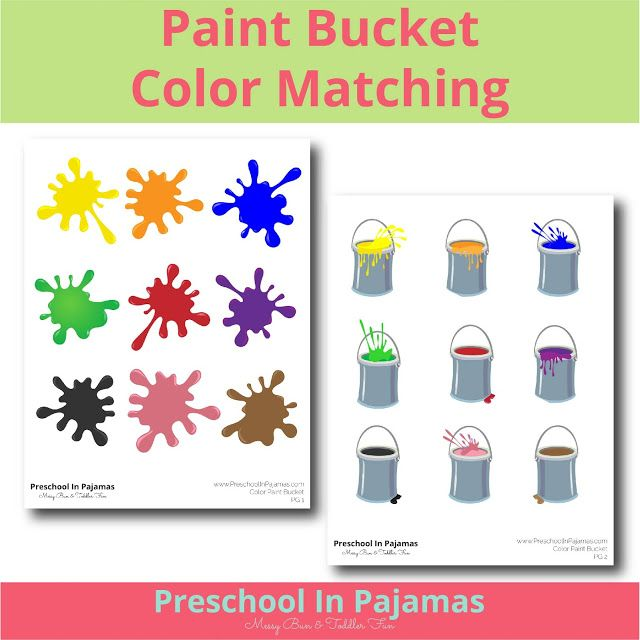 FREE PAINT BUCKET COLOR MATCHING PRINTABLE GAME | Preschool ...