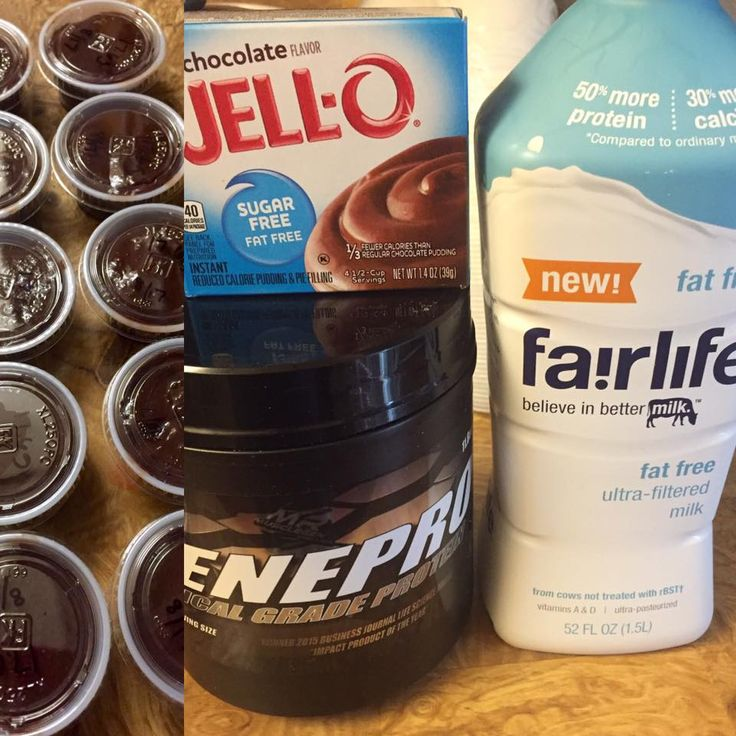 Protein Pudding 10-2 oz servings. 60.4 calories, and 17.5 grams of protein per serving.1 pkg sugar free chocolate, 5 scoops of genepro, and 2 cups of fairlife milk.