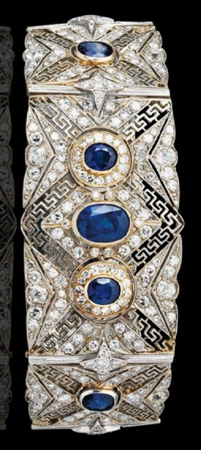 An early 20th century platinum, gold, diamond and sapphire bracelet. #vintage #bracelet