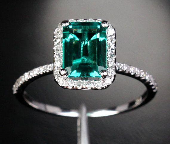 Pear Emerald Engagement Ring Diamond Halo Emerald Ring May Birthstone Green…