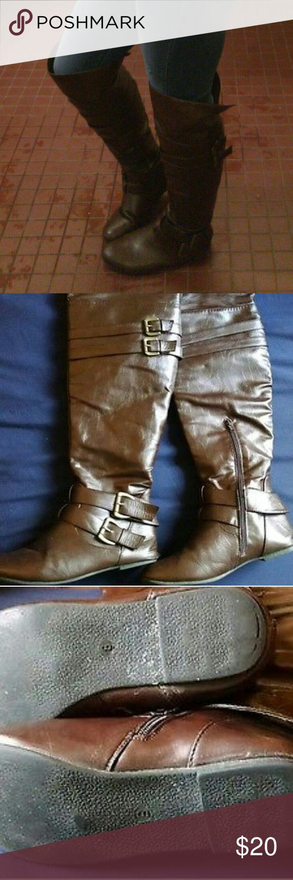 West Blvd over the knee Brown Boots Size 8 In good preowned condition, so so cute. No tears or rips but they are a little worn down on the bottom. They are still so cute, accurate size 8. Dark brown, zip up the side and buckles for decoration. West Blvd Shoes Over the Knee Boots