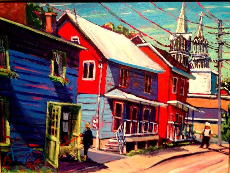 Acrylic painting Plein air 12 x16 Baie St Paul Quebec.