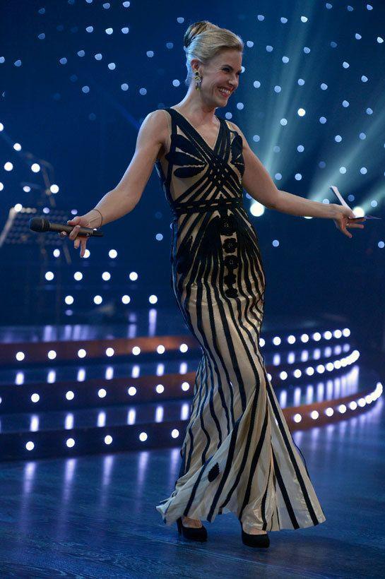 TV Host Ella Kanninen in #kvcouture #kristinaviirpalu #dress in Dancing with the Stars Finland
