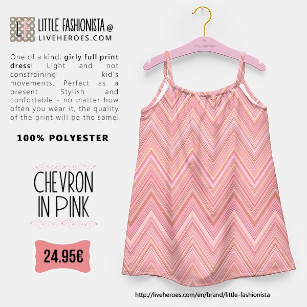 #chevron #zigzag #chevronpattern #zigzagpattern #modern #stylish #lines #pink #dress #girldress #fashion #liveheroes #liveheroesshop #littlefashionista
