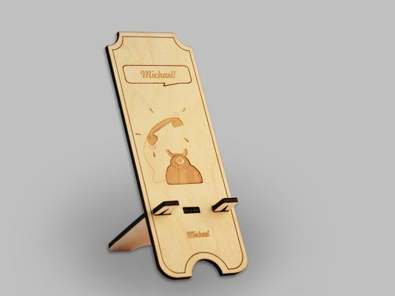 Retro Wooden Phone Stand / Docking station for by InspirativeLaser