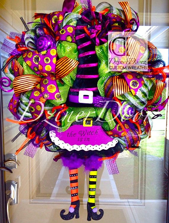 Deluxe Striped Witch deco mesh Wreath by DzinerDoorz on Etsy, $165.00