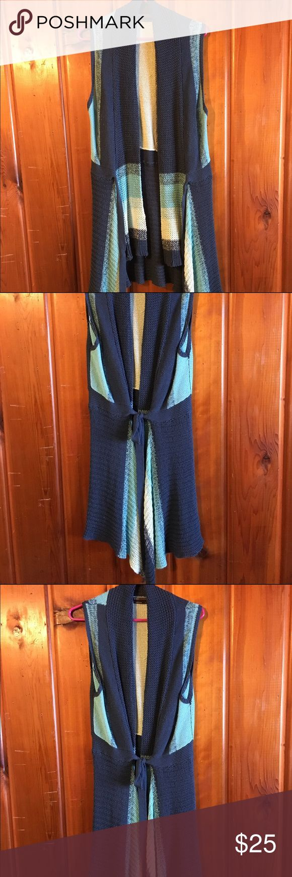 Beautiful Sleeveless Sweater Beautiful blues with a great front flair, this sweater goes with anything. BCBGMaxAzria Sweaters Cardigans
