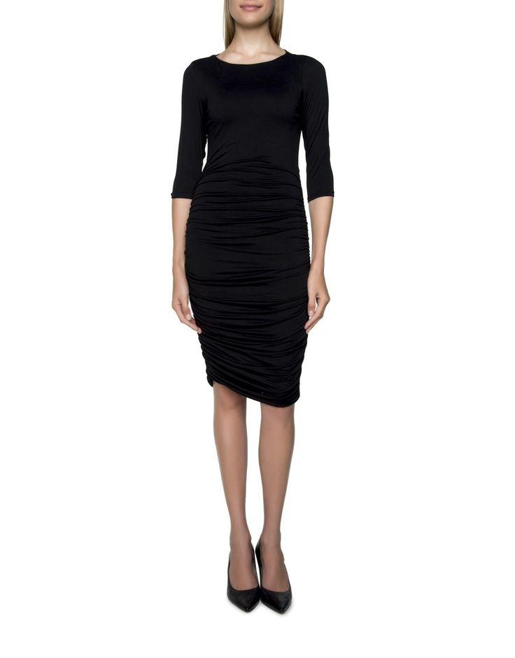 Ruched Slashneck Dress