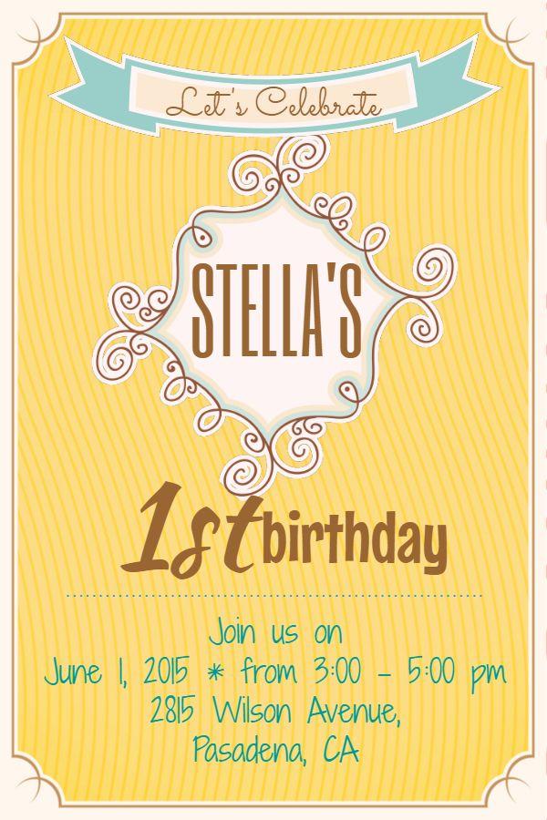 Yellow birthday invitation custom poster flyer social media graphic design template
