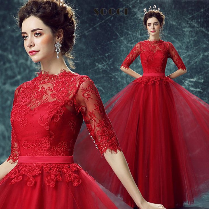 Elegant Wine red Tulle Lace Long Evening Dress Half sleeve