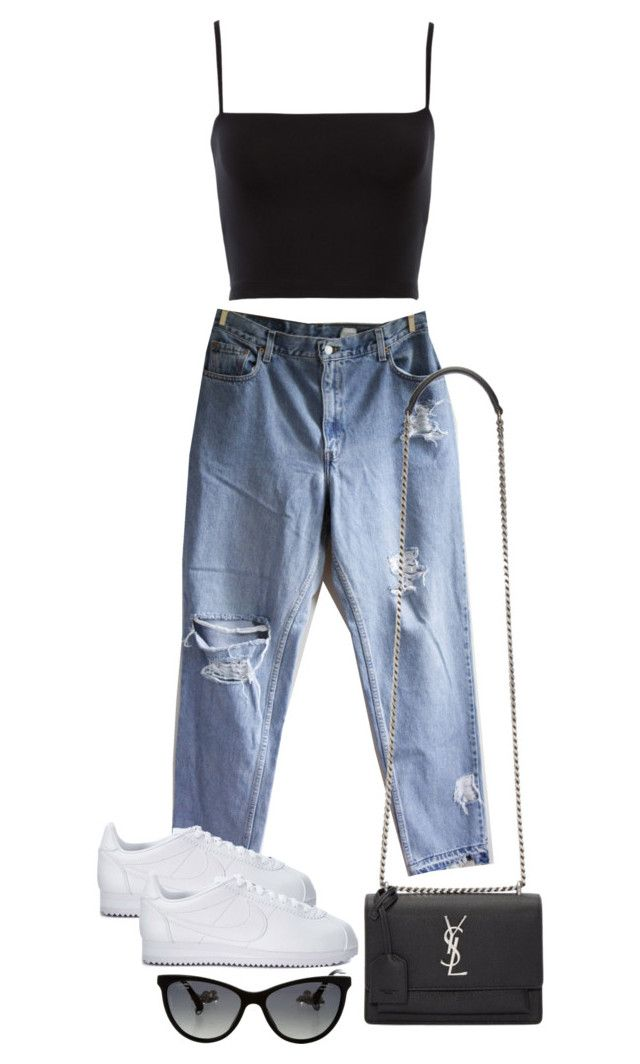 """""""Untitled #4399"""" by theeuropeancloset ❤ liked on Polyvore featuring Levi's, NIKE, Yves Saint Laurent and Chanel"""