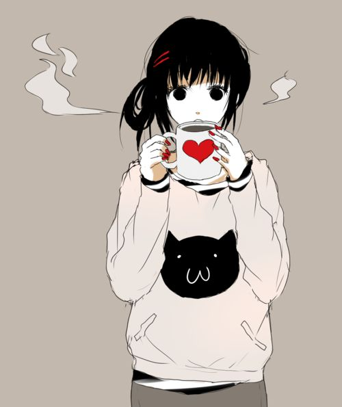 Awww...Love the shirt, Her hair,,Her cup <3. ._.