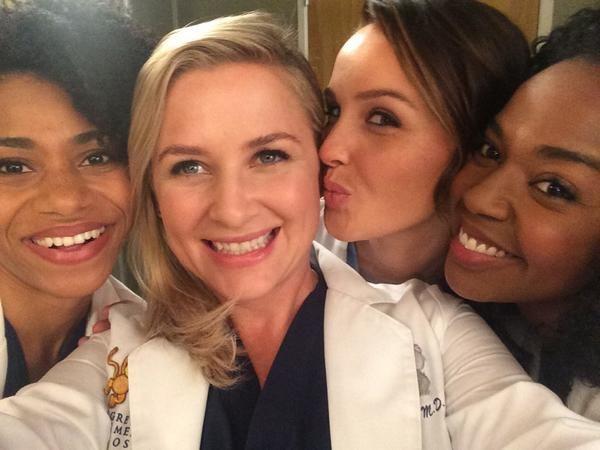 Luddington, and Jerrika Hinton on the Set of Grey's Anatomy Season 11