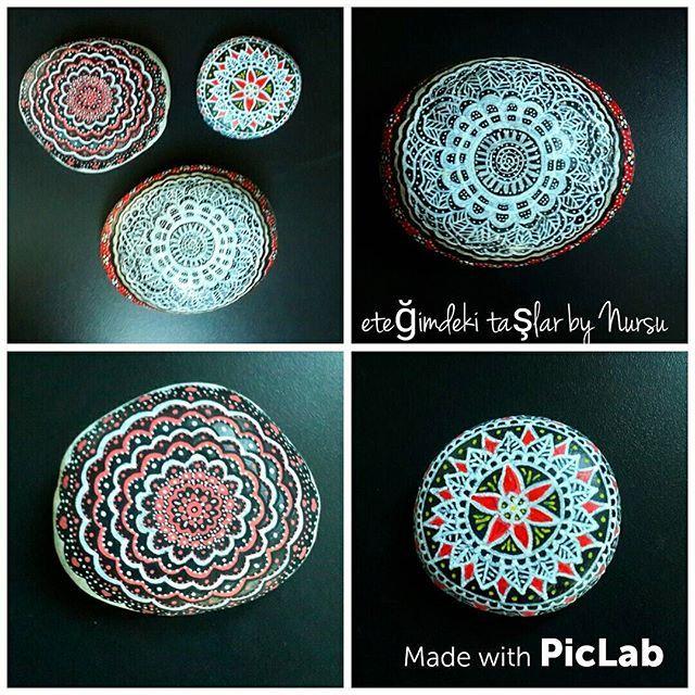 Siyah,  beyaz ve kırmızı. .. Bayılırım bu üçlüye 💖 güzel bir gün olsun 😊 #paintedstones #taşboyama #mandalastones #stone #masasüsü #hobby  #siyah #beyaz #kırmızı #redblackwhite #siyahbeyazkırmızı