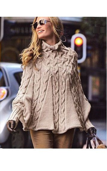 Hand gestrickter Poncho mit Ärmeln aus Wolle für Frauen, kundenspezifisch konfektioniert