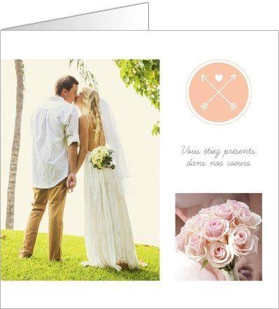 Carte de remerciement mariage absent. Disponible en 4 formats et à personnaliser sur Popcarte.com