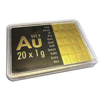 Combibar mit 20 x 1 Gramm Goldbarren - eine schöne Tafel GOLD