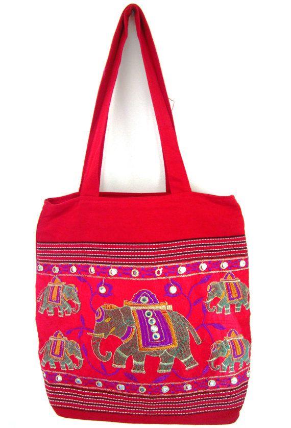 Red Hobo Bags  Shoulder Bags  mirror work bag by elephantsofindia