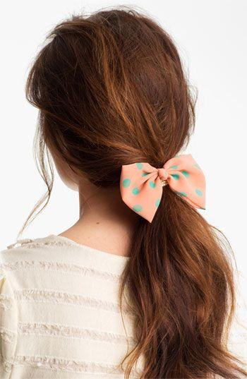 So cute for bridesmaids! Cara 'Pearly Polka Dot Bow' ponytail holder