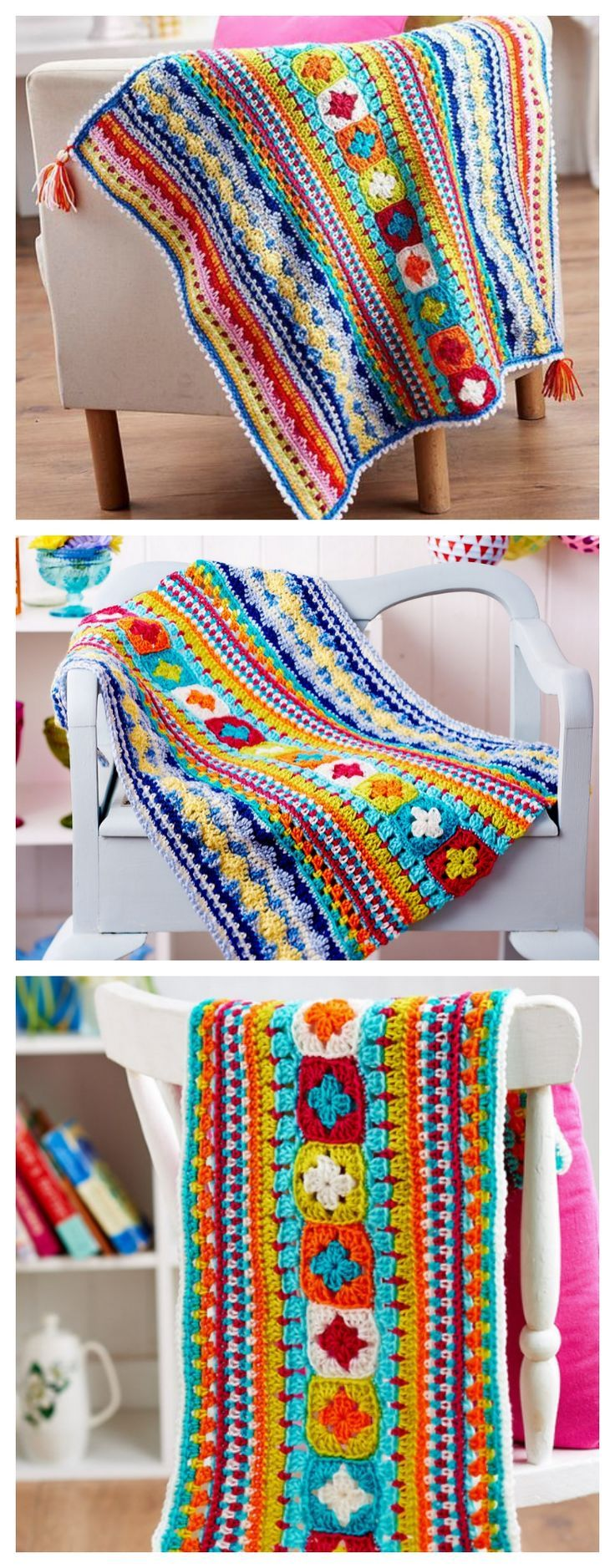 FREE PATTERN: 3-part  Crochet Sampler Blanket ༺: