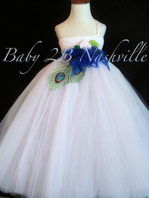 Peacock  Flower Girl Dress in White  Limited by Baby2BNashville