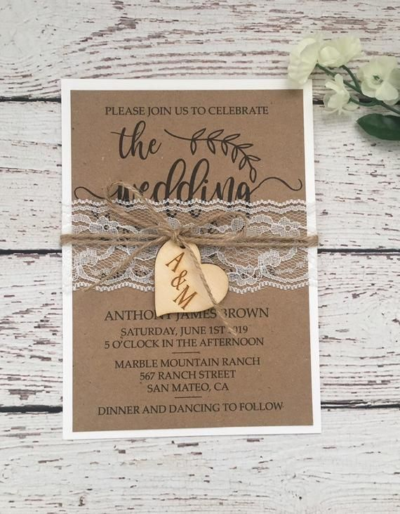 Invitation De Mariage Rustique Invitation De Mariage De Dentelle Ficelle Perle Faire Part De Mariage Invitation De De Place Card Holders Invitations Roselle