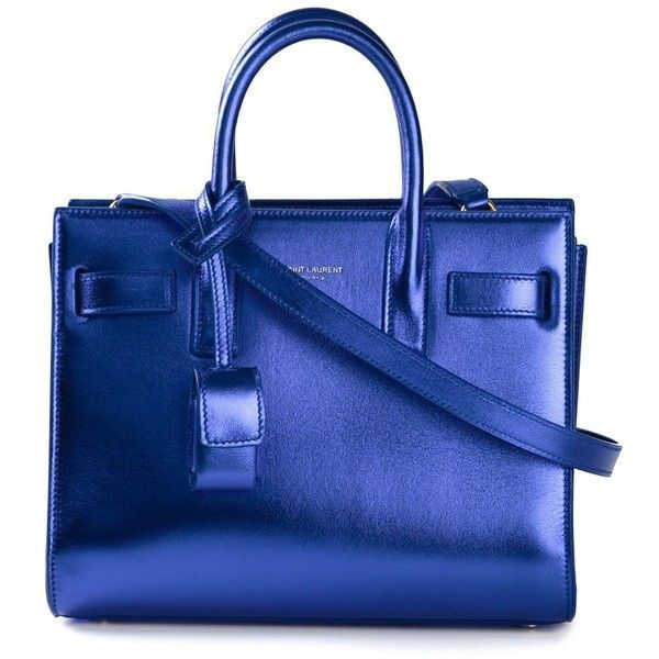 Saint Laurent mini 'Sac de Jour' tote (€2.070) ❤ liked on Polyvore featuring bags, handbags, tote bags, store, ysl, blue, blue leather handbags, tote purses, blue tote and blue tote bag - bags, beach, cosmetic, lunch, cute, mochila bag *ad