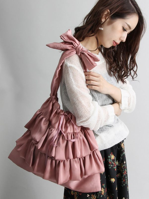 WEGO/フリル巾着2WAYトートバッグ(ピンク)