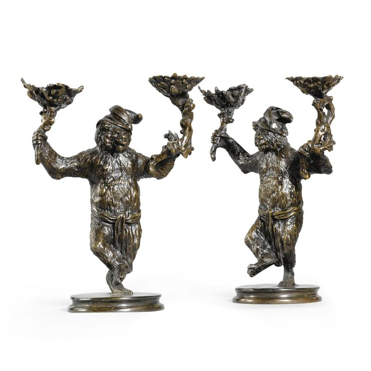 Christophe Fratin French, 1800-1864 FRENCH A PAIR OF BEAR CANDLESTICKS,