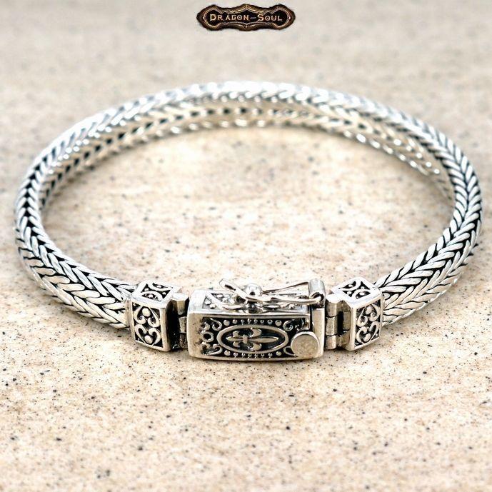925 Sterling Silver Bali Viking Weave Bracelet W Fleur Clasp Dragonsouljewelry Chain Bracelets In 2018 Pinterest