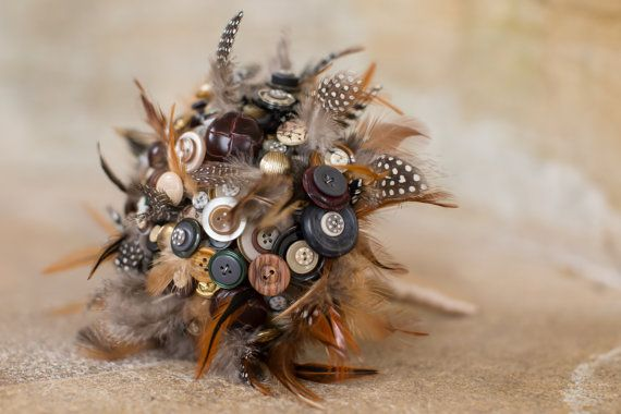 bouquet button and feather Autumn feeling by PumpkinandPye, £120.00
