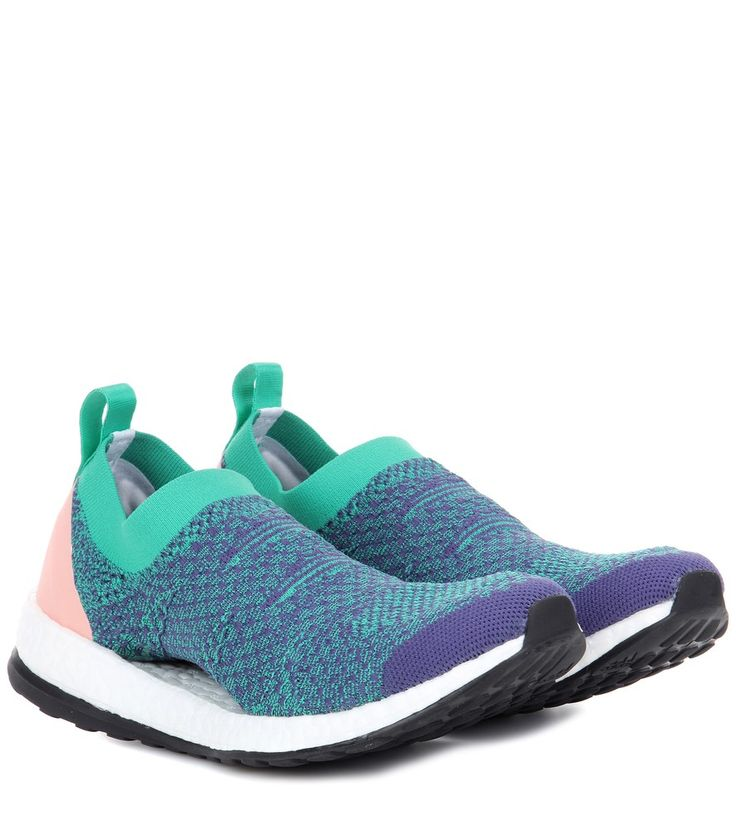 Adidas by Stella McCartney - Pure Boost sneakers - adidas by Stella McCartney's Pure Boost sneakers boast an incredibly comfortable foamy rubber sole with energy-returning properties that will keep you going longer. The green and purple upper is accented with a pink trim at the heel. They promise cool, urban appeal whether you're in the gym or the city. seen @ www.mytheresa.com
