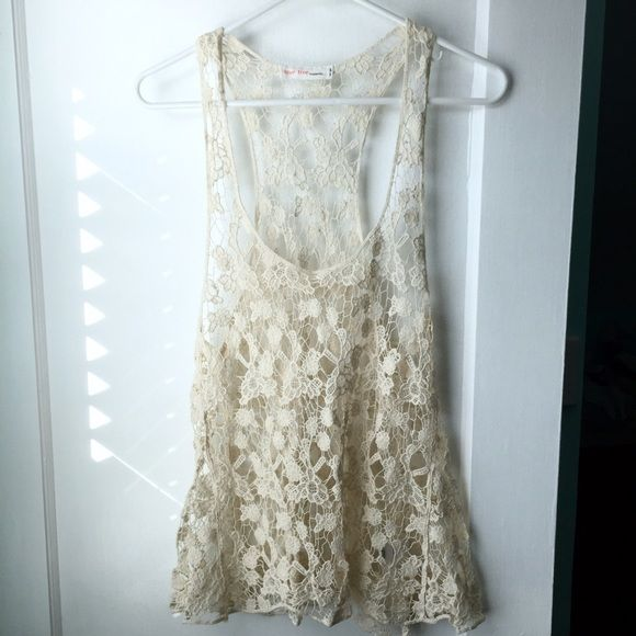 NWOT - Crochet Lace Tank Top Intricate, off-white crocheted lace top layer. Never worn, beautiful condition. Tops Tank Tops