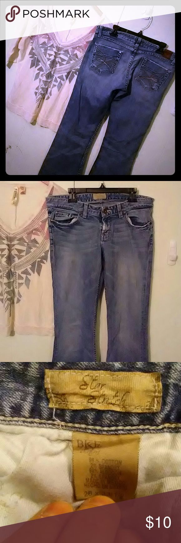 BKE star stretch boot flare lived in jeans BKE brand comfortable lived in boot flare jeans. Have a distressed look. Hem on left leg a little ragged as shown in pic. Size 28 X 33 1/2. You wont find a better price on this brand. BKE Jeans Boot Cut