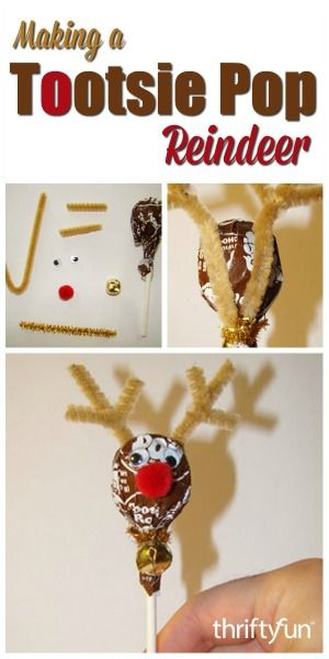 This is a guide about making a Tootsie Pop reindeer. These easy to make, cute Tootsie Pop reindeer are perfect to use for stocking stuffers or party favors.
