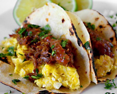 Orange And Beer Braised Pork Carnitas Breakfast Tacos - Honest Cooking