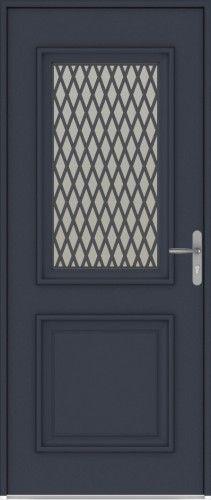 Panthéon - Porte d'entrée aluminium classique mi vitrée